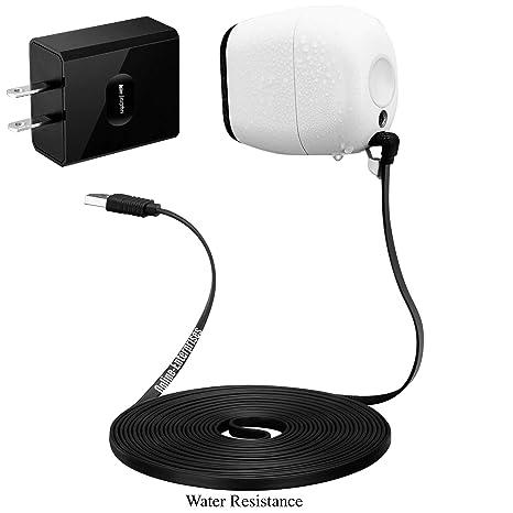 Online-Enterprises 70 Degree 20 Foot Charging Power Cable- Fits, Arlo Pro,  Arlo Pro 2, Arlo GO -Indoor/Outdoor Flat Cable, Weatherproof (70 Degree