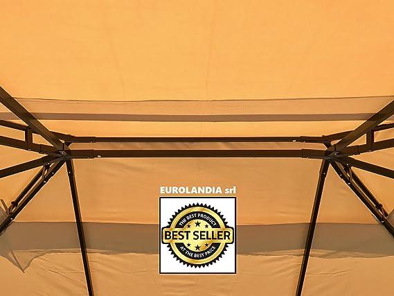 Pérgola de jardín 3 x 4 con cobertura de aluminio, 375 gramos, Recubierto de PVC impermeable con mosquiteras laterales: Amazon.es: Hogar