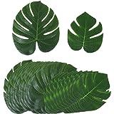 24pcs Feuilles Artificielles de Palmier Tropicaux Imitaion Réelle pour Décoration Maison Party Luau Hawaïen Faveurs (12pcs Grands + 12pcs Petits)