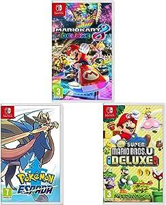 Nintendo Mario Kart 8 Deluxe + New Super Mario Bros. U Deluxe + Pokémon Espada Switch: Amazon.es: Videojuegos