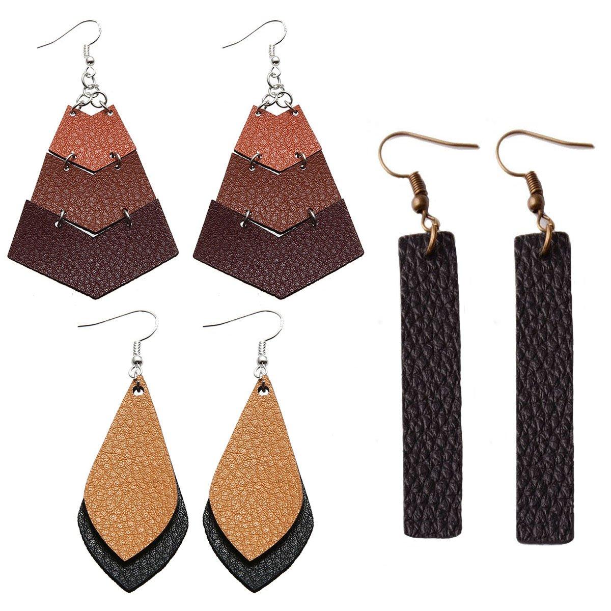 3 Pairs Faux Leather Teardrop Earrings Real Leather Hook Earrings Antique Looking Leaf Shape Dangle Drop Pierced Earrings for Women, Girls