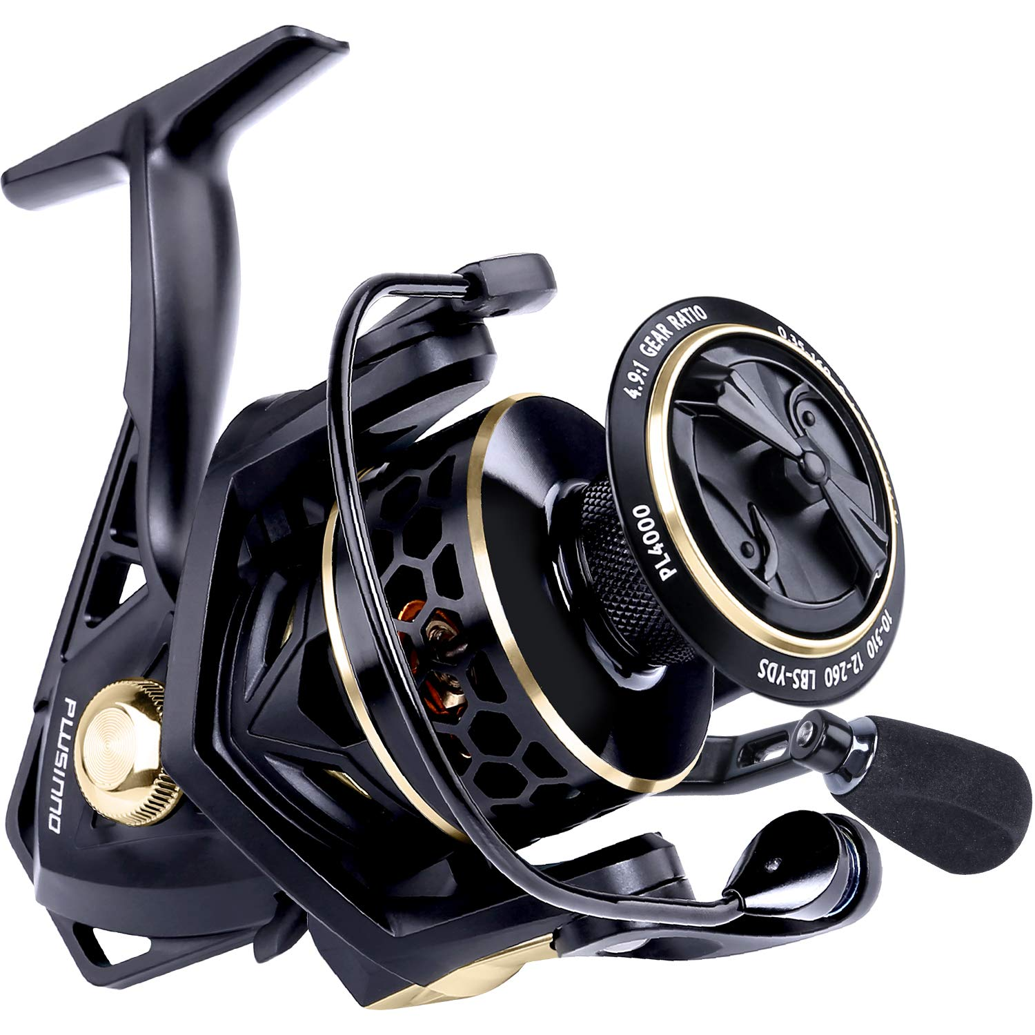 PLUSINNO Fishing Reel, 9 1BB Spinning Reel, Ultra Smooth Powerful, Lightweight Graphite Frame, CNC Aluminum Spool for Saltwater Freshwater