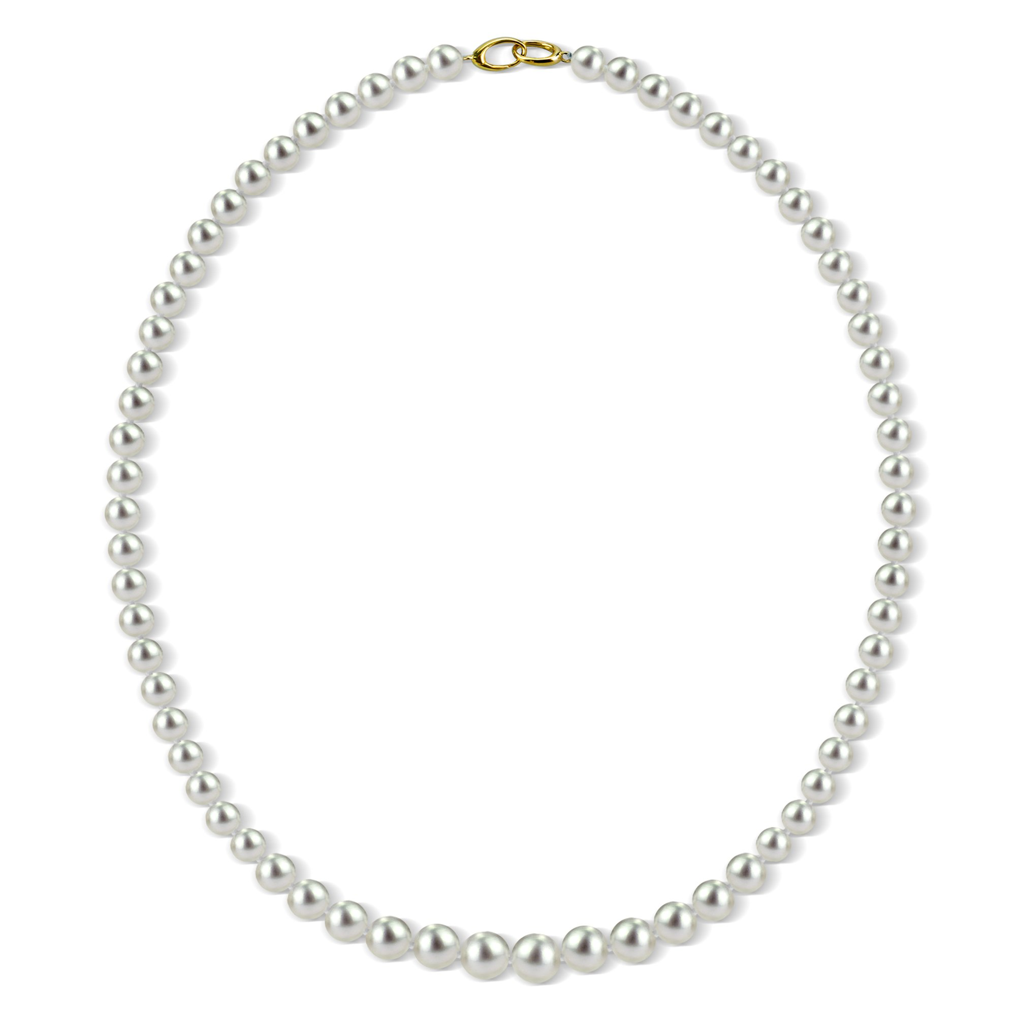 Graduated Cultured White Freshwater Pearl Necklace for Women 14K Yellow Gold 18 inch 6-8.5mm