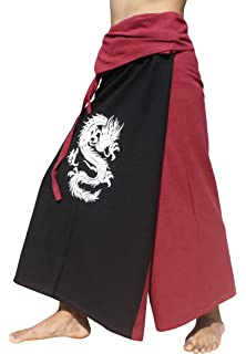 RaanPahMuang Brand Thick Cotton One Color Plain Samurai Wrap Pants #1,Medium Black