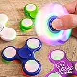 LED Finger Spinner Fidget Hand Spinner Chrome Edition Hand Spiner Tri-Bar Kreisel Anti Stress (Grün mit LED)