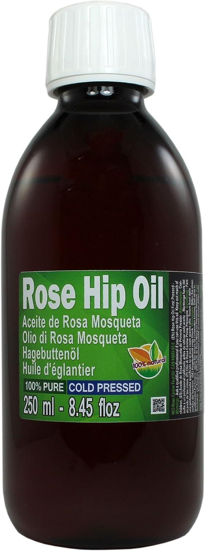 Aceite Rosa Mosqueta 250ml (un cuarto litro) 100% Puro Origen Chile - Primera Prensada en Frió, Virgen Extra -Color naranja brillante- Primera calidad de exportación.