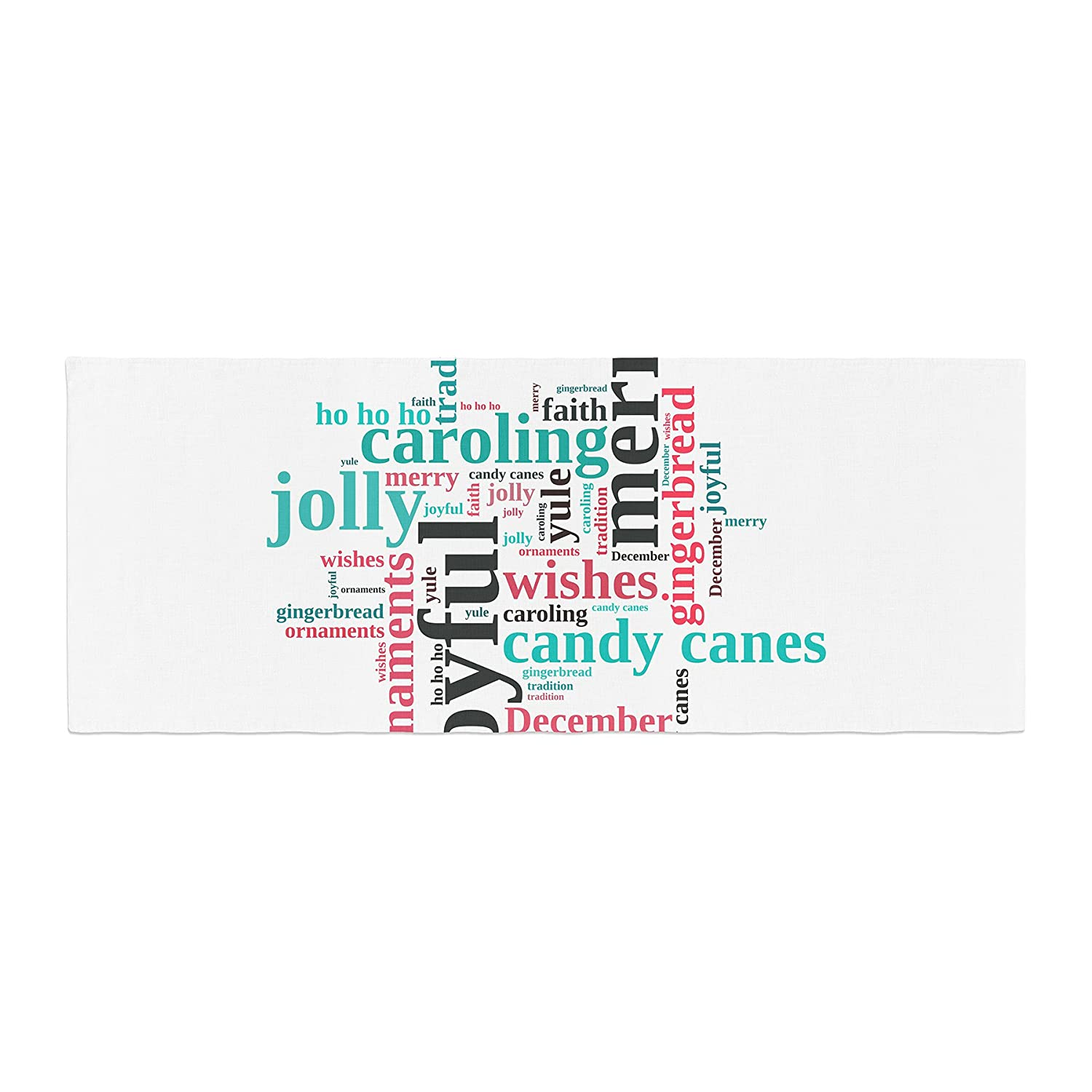 Kess InHouse Sylvia Cook Holiday Traditions Christmas Typography Bed Runner