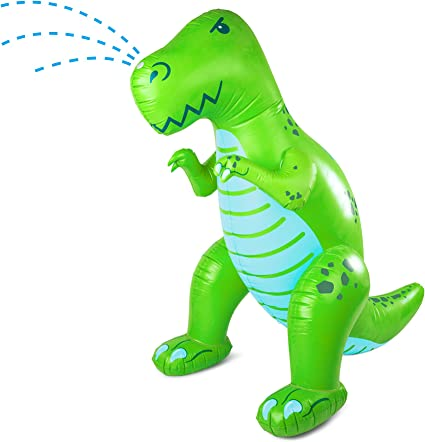 Sloosh 43 Triceratops Inflatable Water Sprinkler and Ring Toss Combo Inflatable Water Dinosaur Toy Fun Outdoor Water Toys Activity for Toddlers and Kids