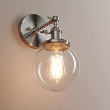 Pathson 15cm industrial vintage clear glass globe retro sconce pathson 15cm industrial vintage clear glass globe retro sconce wall light lamp fixture brushed aloadofball Choice Image