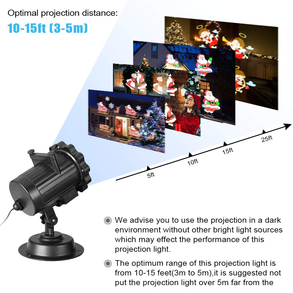 Gsha Christmas Projector Lights, LED Lights Projector 6 Slides Landscape Motion Projector Lights with Remote Control, 16.4ft Power Cable for Indoor and Outdoor Holiday Decoration-Ship from US by Gsha (Image #4)