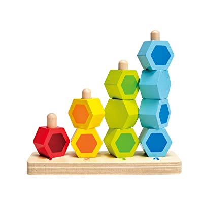 Hape Counting Stacker Toddler Wooden Stacking Block Set: Toys & Games