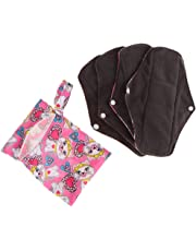 Fityle 4pcs Sanitary Pads Reusable Washable Cloth Menstrual Pads/Panty Liners with Wet Bag, Super-absorbent, Soft and Comfortable - A, as described