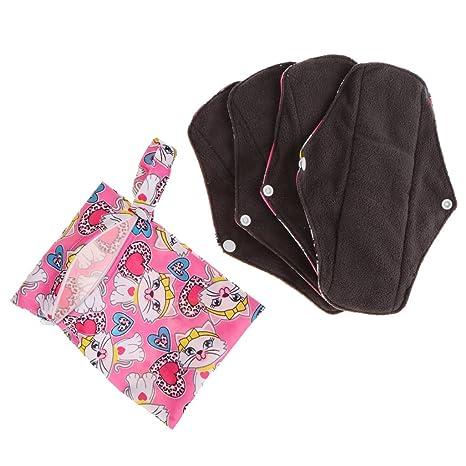 Sharplace 4 pcs de Bragas Toalla Femenina Almohadillas Menstruales de Algodón - multicolor a, como
