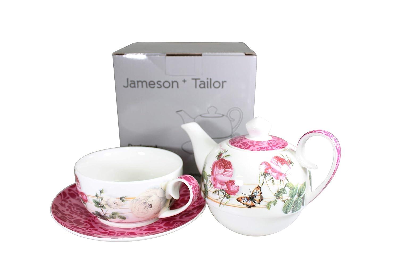 Jameson & Tailor Tea for One 4teiliges Set Kännchen, Tasse, Untertasse Rose Brillant-Porzellan