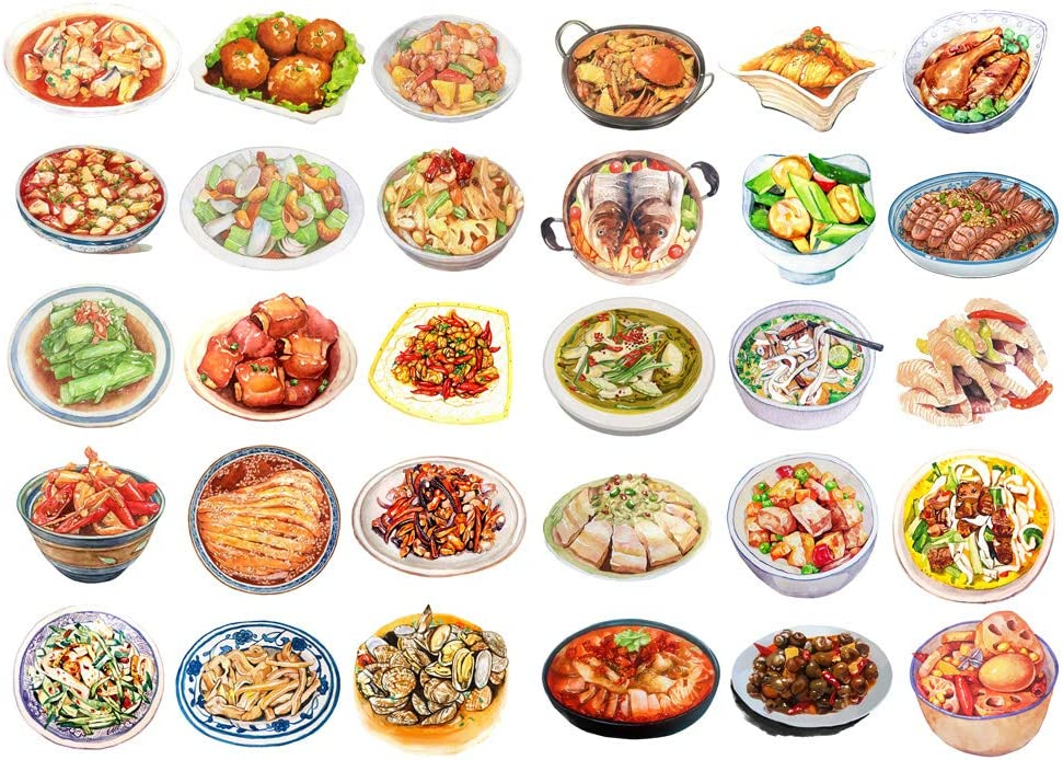 Seasonstorm Chinese Dinner Food Menu Aesthetic Diary Travel Journal Paper Stickers Scrapbooking Stationery School Office Art Supplies (PK520)