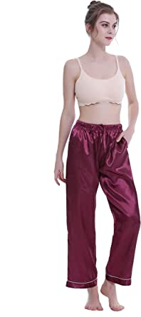 Lavenderi Women's Silk Satin Pajama Pants, Long Sleep Pants with Drawstring