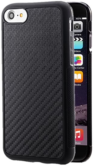 wholesale dealer e8a90 d03e4 iPhone 8 Case,iPhone 7 Case Carbon Fiber Hybrid Rubberized Ultra-Slim  Anti-Slip Grip Full Body Protector Cover for Apple iPhone 7 iPhone 8 All ...