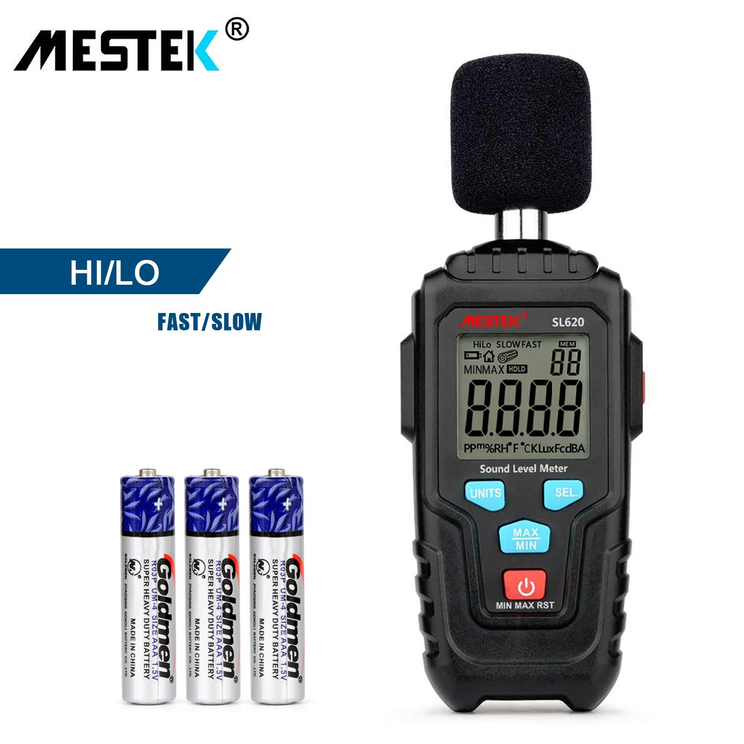 Decibel Meter Digital Sound Level Meter MESTKE 30 - 130 dB Noise Volume Measuring Instrument Reader Self-Calibrated Max Min Data Hold Fast/Slow Mode LCD Backlight Display/Flashlight by MESTEK