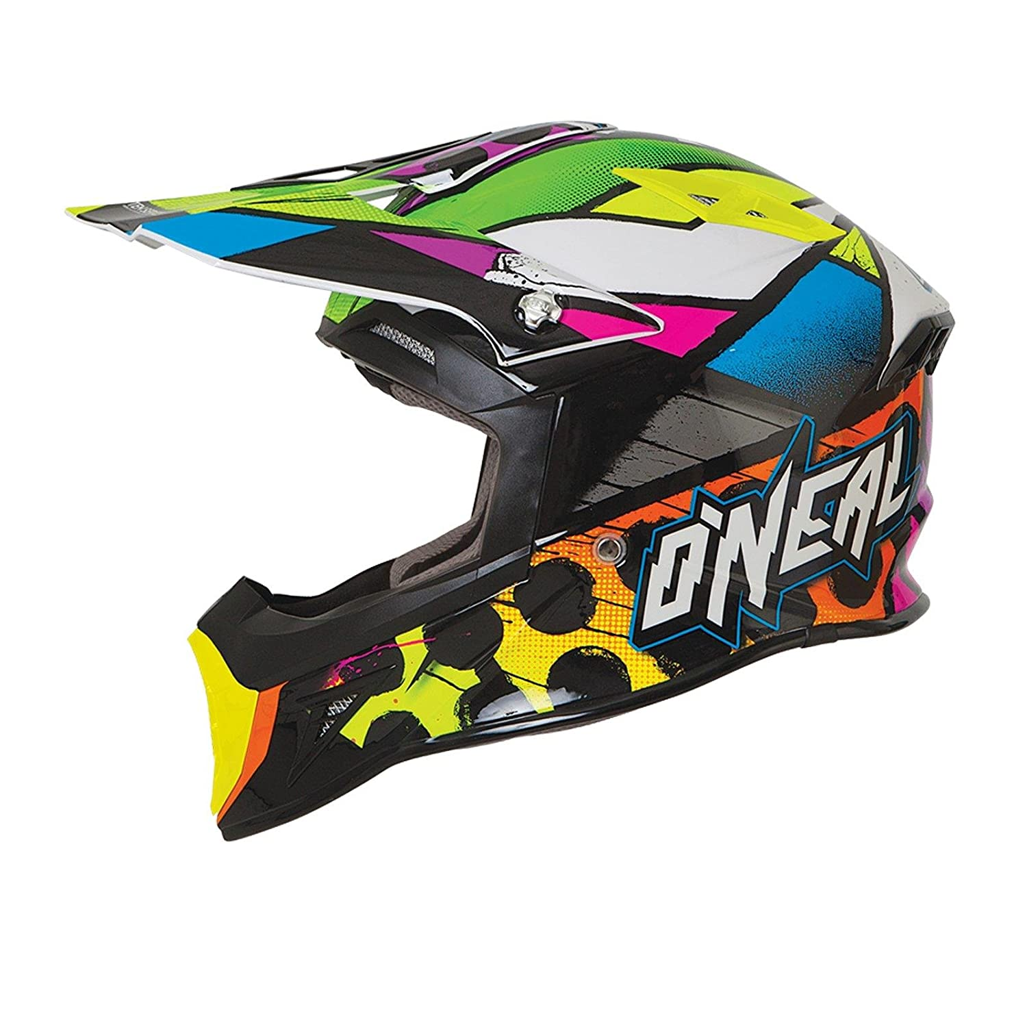 O& 039;Neal 10Series MX Helm Glitch Schwarz Multi Motocross Enduro Offroad, 0624G-1