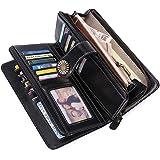 KELEEL Women's RFID Blocking Wallet Genuine Leather Clutch Wallet Card Holder Organizer Ladies Purse