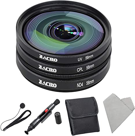 Zacro - Kit de filtros para cámara réflex (58 mm, UV,ND4,CPL, con ...