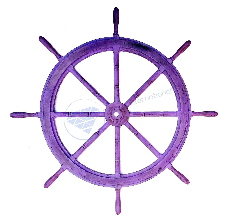 Nagina International(ナジャイナインターナショナル) Nautical高級ハンドクラフト木製操舵輪   海賊風家庭壁装飾&ギフト   , 24 Inches, ブルー NWH005AV B01FVSRBNE 24 Inches アンティークバイオレット アンティークバイオレット 24 Inches