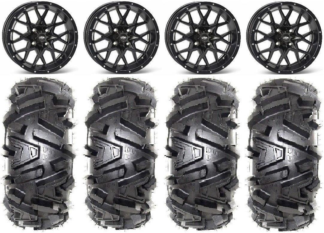 Bundle - 9 Items: ITP Hurricane 14'' Wheels Black 27'' Moto MTC Tires [4x110 Bolt Pattern 10mmx1.25 Lug Kit]