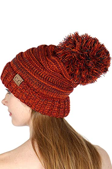 5c854b11dff C.C Tricolor Oversized Slouchy Soft Cable Knit Beanie Pom Hat Rust at Amazon  Women's Clothing store: