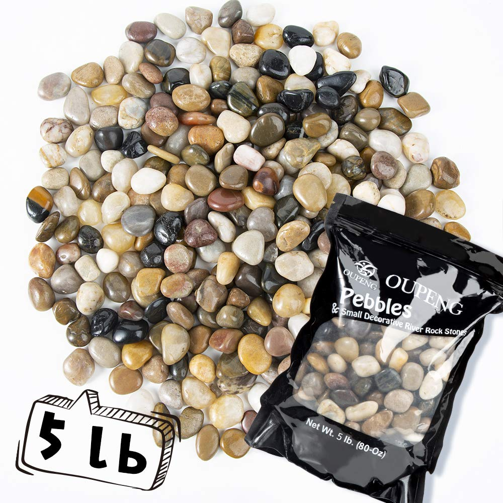 OUPENG Pebbles Decorative Polished Gravel - 5 Pounds Natural Polished Mixed Color Stones, Small Decorative River Rock Stones (80-Oz). by OUPENG