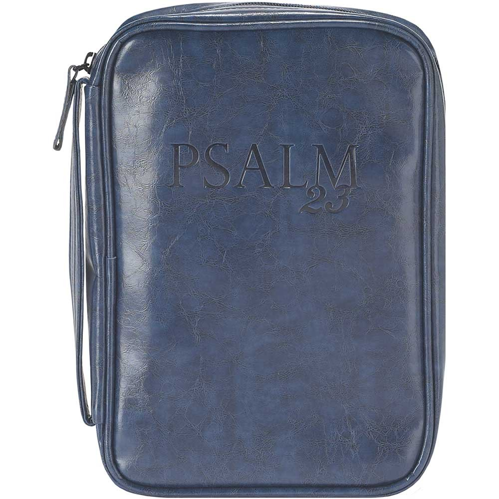 Navy Blue 7 x 10 inch Leather Like Vinyl Bible Cover Case with Handle Medium