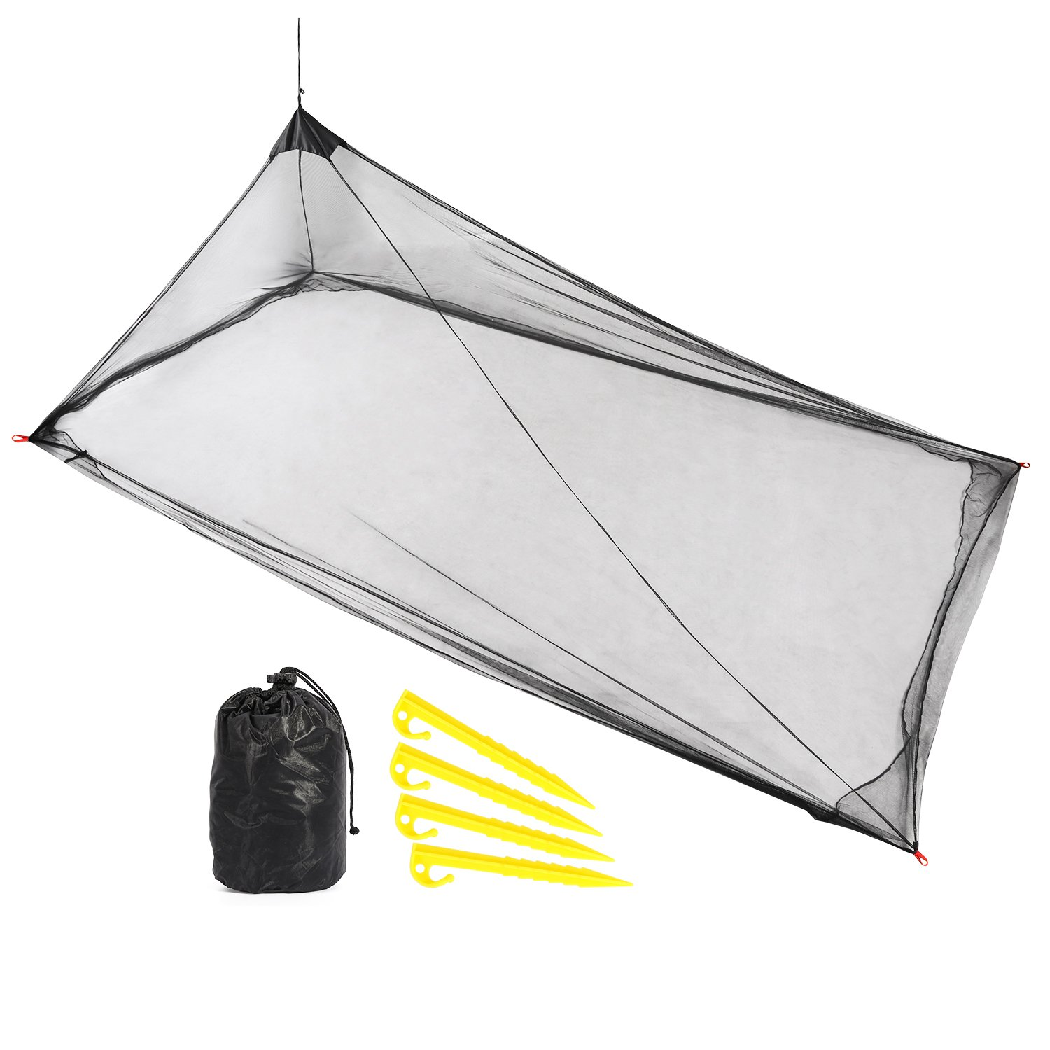 REDCAMP Single Camping Mosquito Net for Sleeping Bag or Bed, Compact and Lightweight Hanging Triangle Pyramid Net, Black by REDCAMP