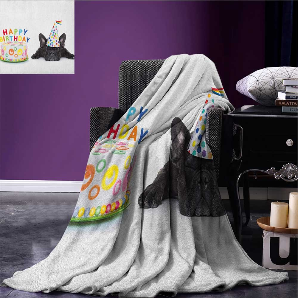 Kids Birthday couch blanket Sleepy French Bulldog Party Cake with Candles Cone Hat Celebration Image Custom Multicolor size:60''x80''