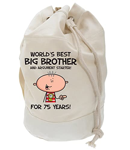 Worlds Best Big Brother Mens 75th Birthday Present Duffle Backpack Bag