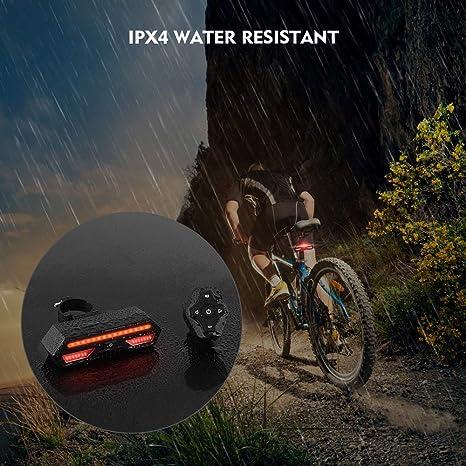 Elgary-US luz trasera para bicicleta con intermitentes y luz de ...