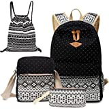 Alando Canvas Dot Backpack Cute Lightweight Teen Girls Backpacks School Shoulder Bags Backpack Set