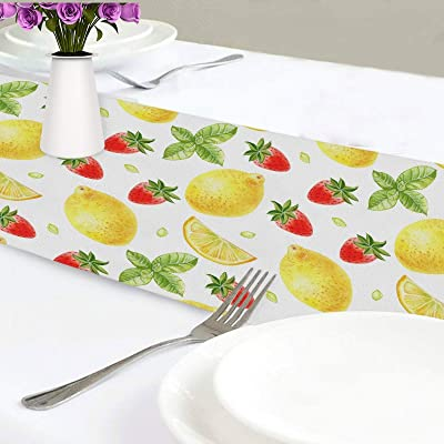 Buy Exnundod Strawberry Lemon Table Runner Summer 70 Inches Mint Yellow Fruit Runner Table For Kitchen Decor Spring Home Party Holiday Online In Turkey B08z8cqtnn