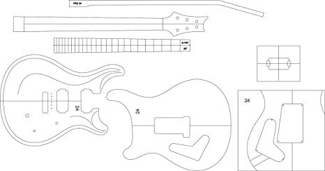 Amazon Com Electric Guitar Layout Template Prs24 Office Products