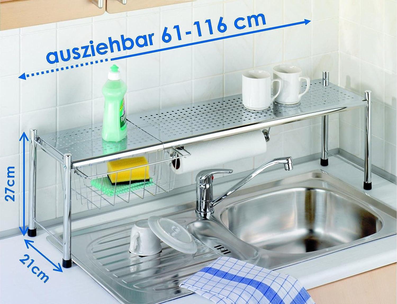 Amazon.de: WENKO Spülbecken Expando Regal Rollenhalter Korb ...