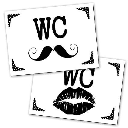2 – cartel indicador de señal de inodoro (de cartel Labios & Schnauzer en moderno negro de color blanco Look para mujeres y hombres; 14,8 x 10,5 cm, ...