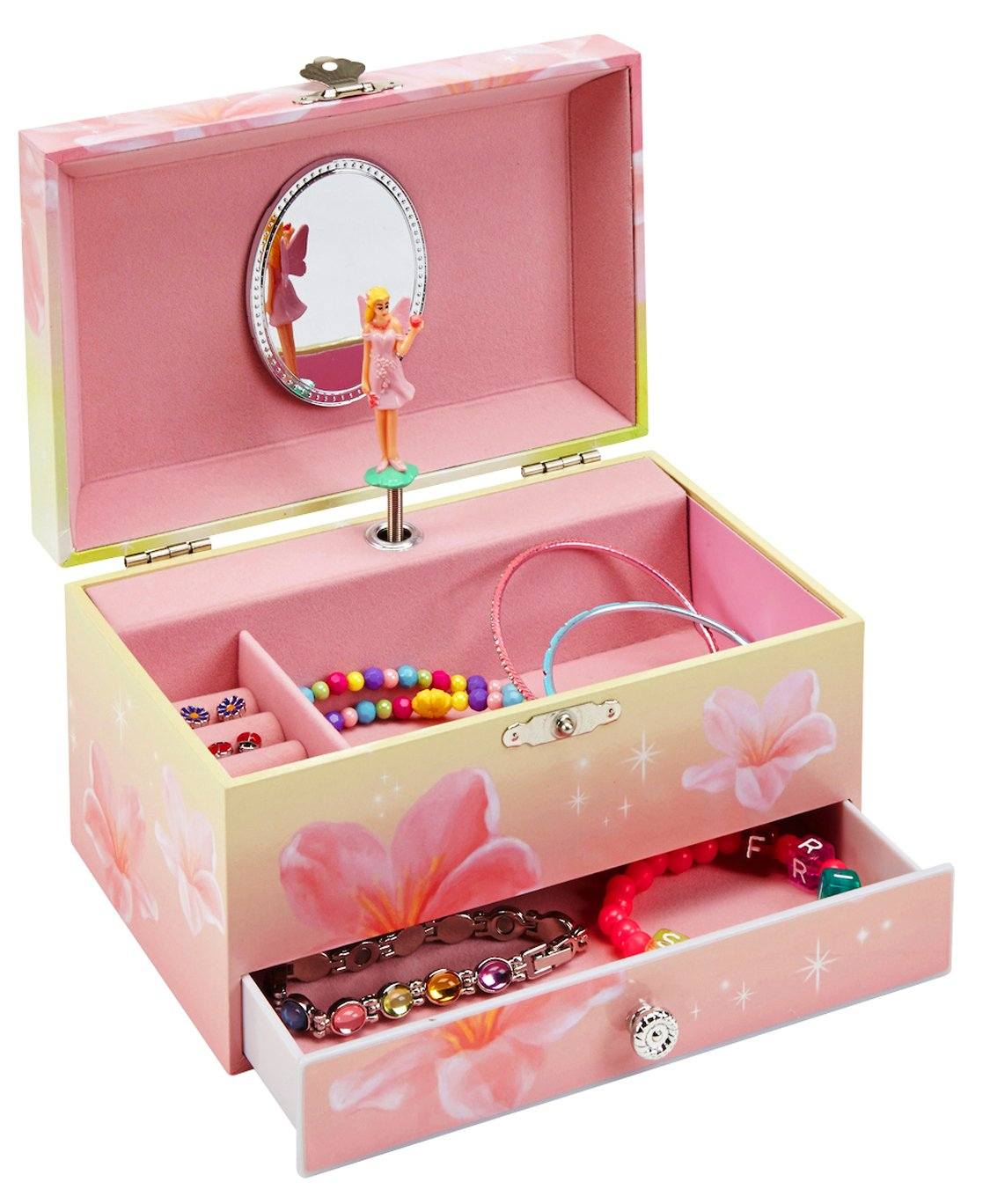 JewelKeeper Girl's Musical Jewelry Storage Box Pullout Drawer, Rainbow Unicorn Design,Somewhere Over The Rainbow Tune