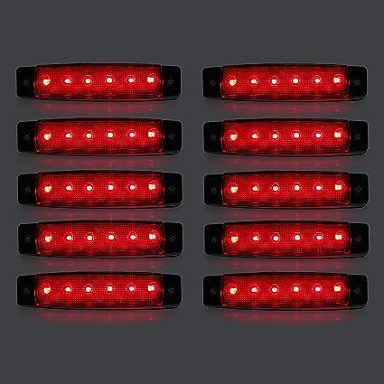 Led Seitenmarkierungsleuchten 10 Stücke Led Lkw Seitenlichter 6 Smd Led Seitenmarkierungs Kontrollleuchte Vorne Hinten Seitenlicht Positionslampen 12 V Für Auto Rot Auto