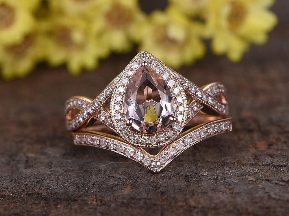 Morganite Band 14k Rose Gold Ring Peachy Pear Band Bezel Stacking Morganite Wedding Ring Engagement Band