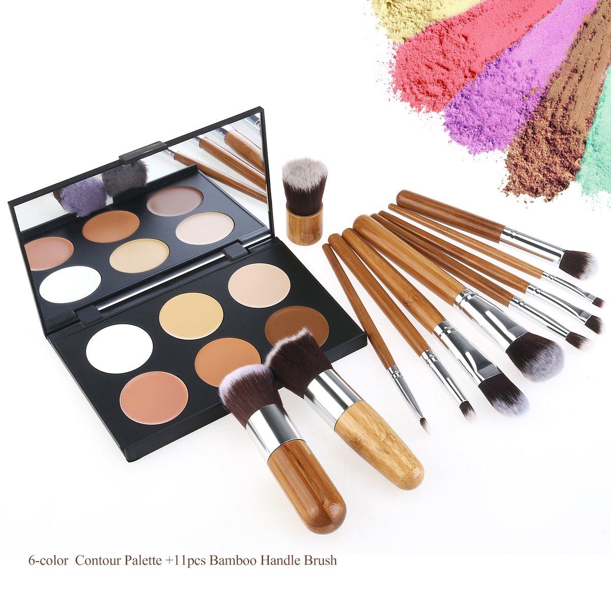 RUIMIO Contour Kit Cream Contour Palette 6 Colors with Makeup Brush Set by PIXNOR (Image #2)