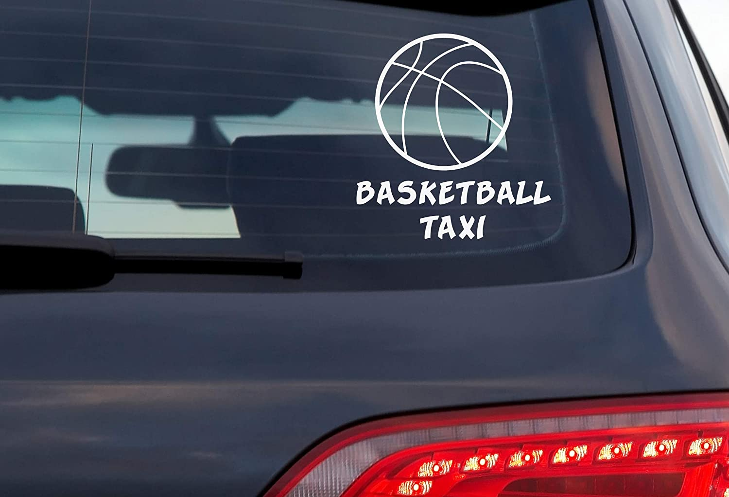 Exterior DOOMSDAYDECALS Basketball Taxi 5 Inch White Vinyl Decal for Car Window