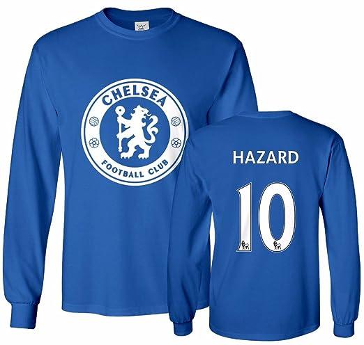 ce59469e76b2b2 Amazon.com  Tcamp Chelsea Shirt Eden Hazard  10 Jersey Men s Long Sleeve T- shirt  Clothing