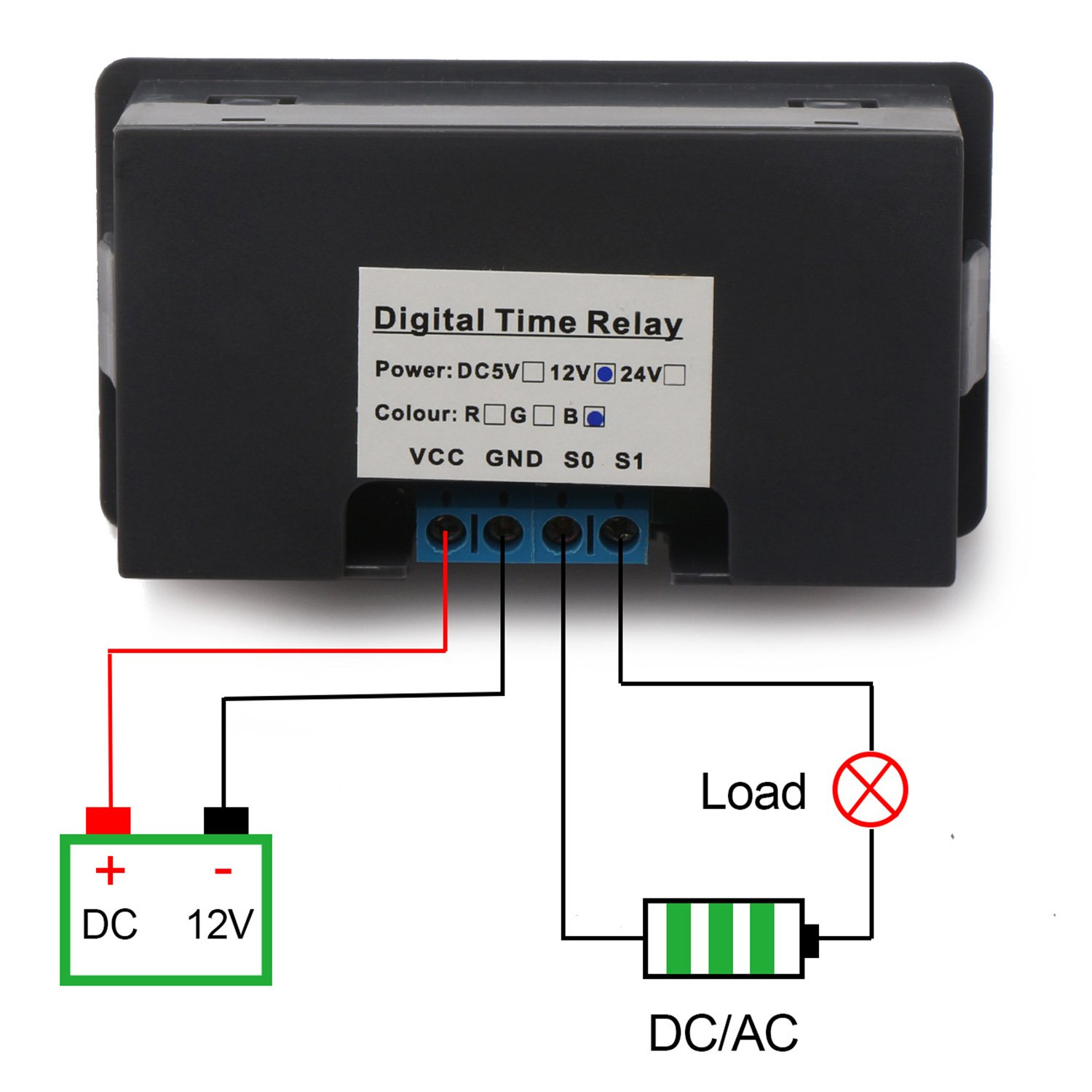 Drok Dc 12v Digital Timer Relay Board Automotive 1500w Module Switch With Dual Time Display