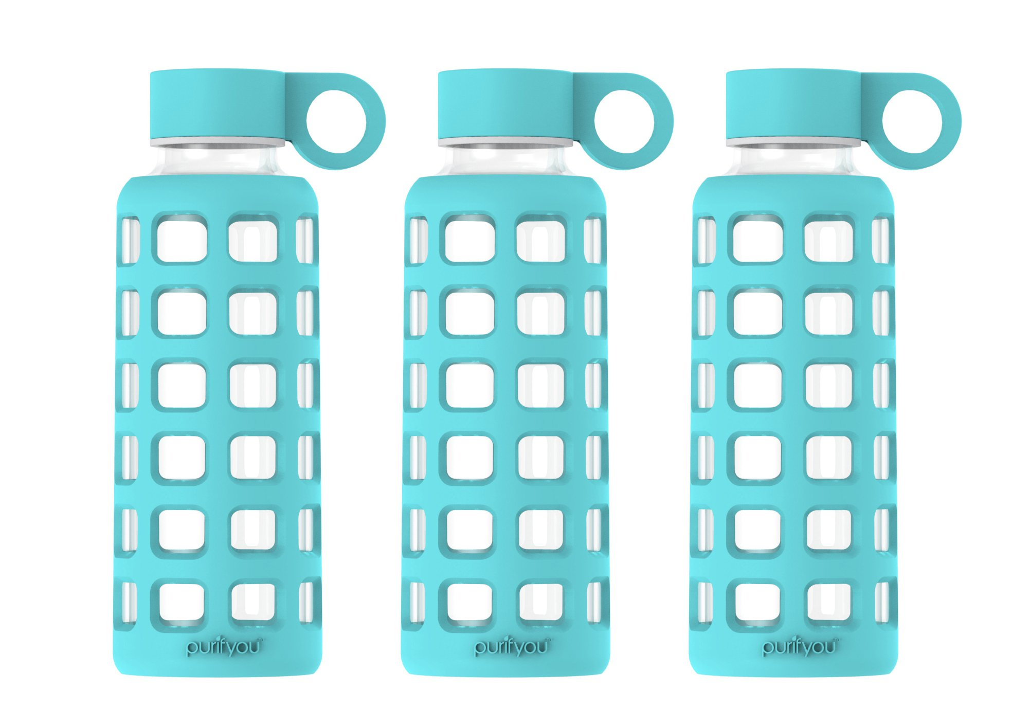 purifyou Premium Glass Water Bottle with Silicone Sleeve & Stainless Steel Lid Insert, 12/22/32 oz (3 Pack Aqua Blue, 12 oz)