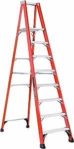 Louisville Ladder FP1408HD Fiberglass Platform Ladder, 8 Feet, 375 Pound Duty Rating