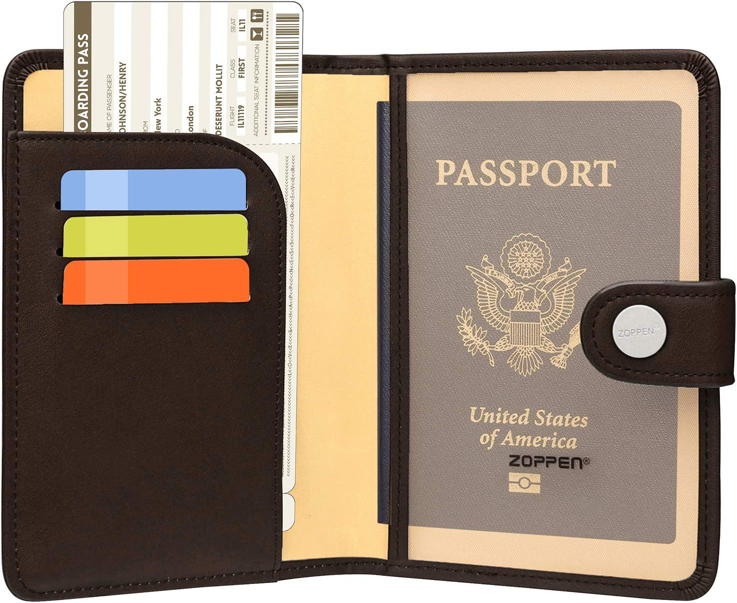 Cute Llama Passport Holder Travel Wallet RFID Blocking Leather Card Case Cover