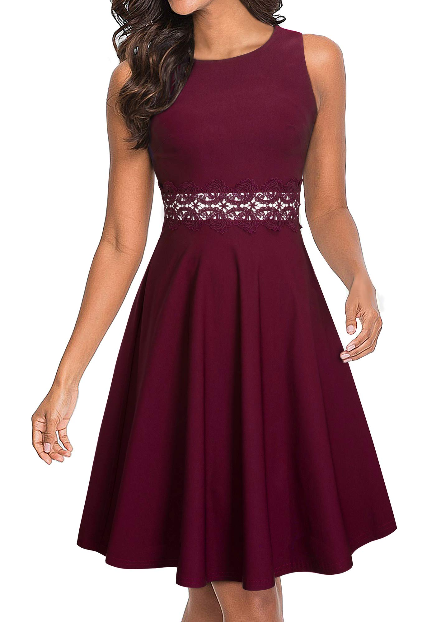 HOMEYEE Women's Sleeveless Cocktail A-Line Embroidery Party Summer Wedding Guest Dress A079 (4, Carmine)